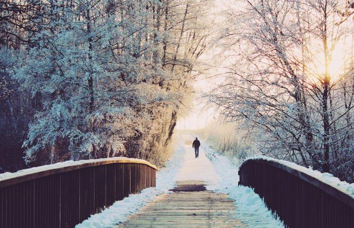 Man in Baltics winter time